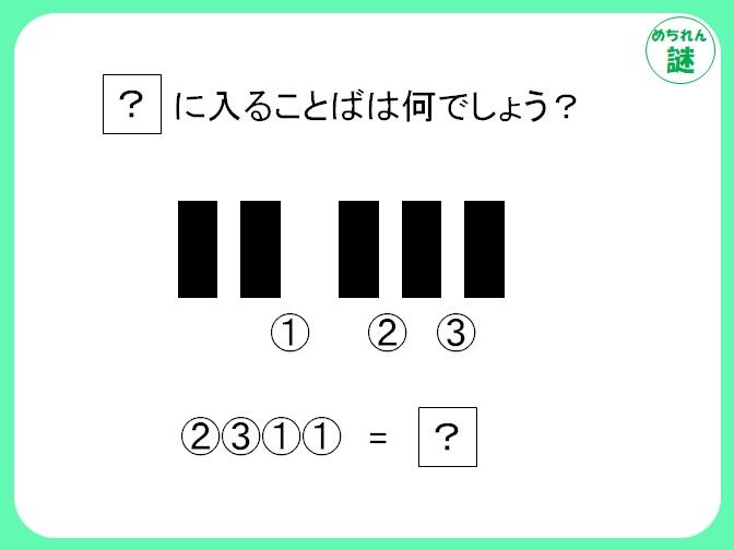 イラスト謎解き 5つの黒い長方形と番号の位置関係から、何を表すのか推測せよ!