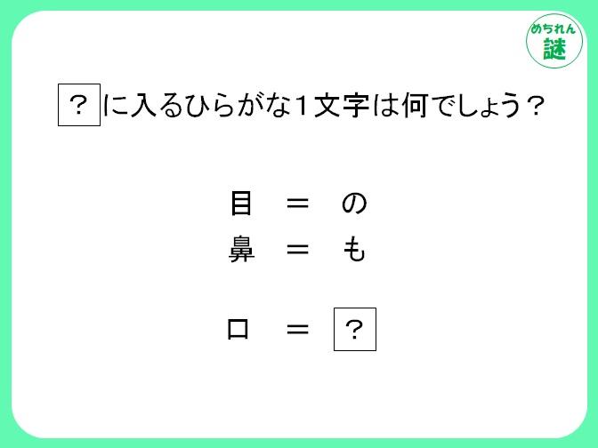 暗号謎解き 体の一部とひらがな1文字ずつが対応?隠れた規則性を見抜け!