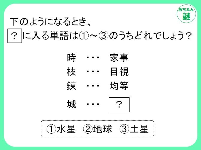 暗号謎解き 1文字の漢字と2字熟語の関係性を見抜け!