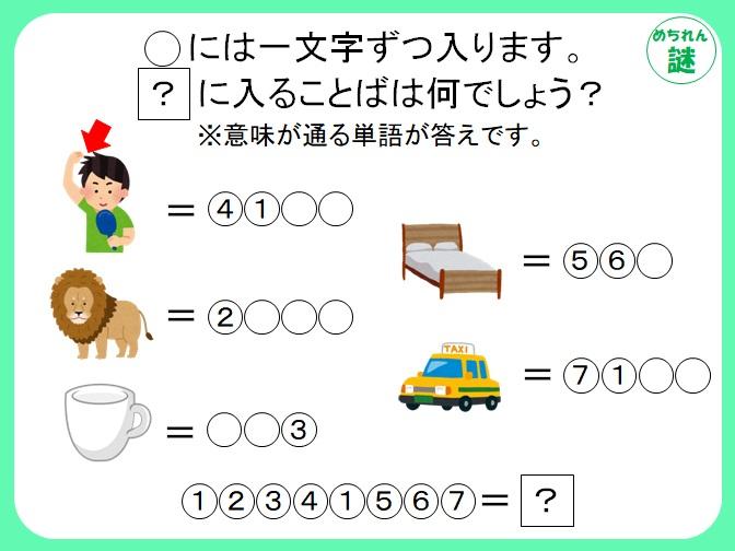 イラスト謎解き 丸に入る文字とは?文字数に気を付けて、何が入るのか考え、答えにたどり着け!