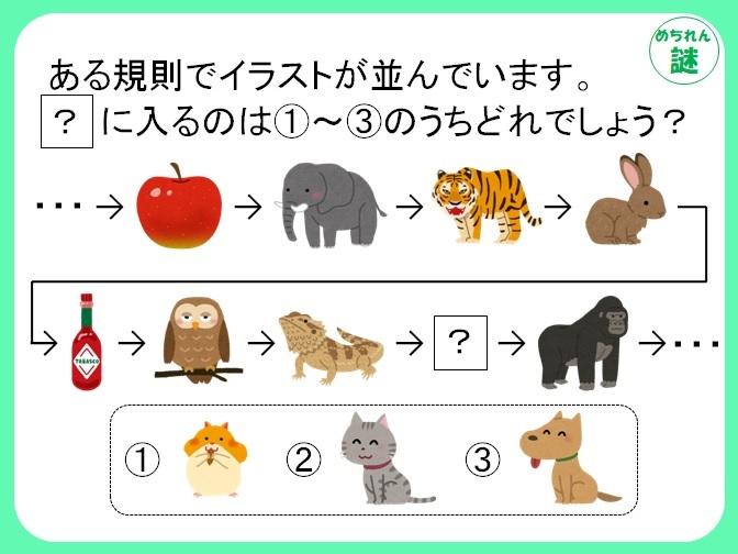 規則性謎解き イラストの並び順から、ルールを見つけ出し、答えにたどり着け!