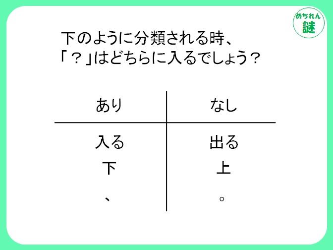 ありなし謎解き 分類分けのルールはとある文章に注目!問題文を注意深く見よう。